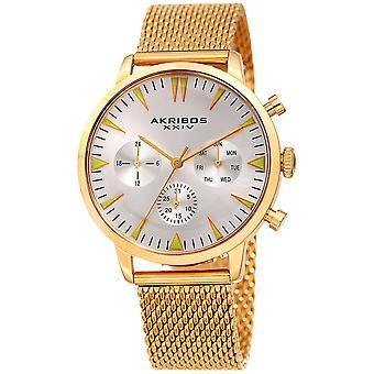 Akribos XXIV hommes AK1027 chronographe maille bracelet montre AK1027YG