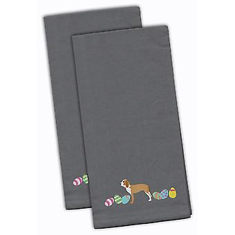 Sabueso Espanol Easter Gray Embroidered Kitchen Towel Set of 2