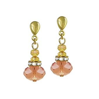 Eternal Collection Toscana Peach Crystal Gold Tone Drop Clip On Earrings