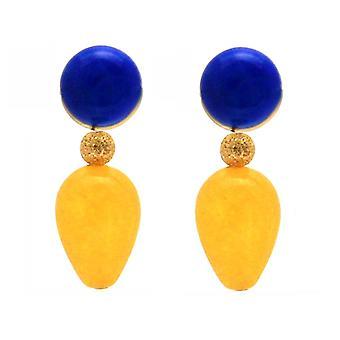 Gemshine earrings blue lapis lazuli golden yellow jade gemstone drop plated
