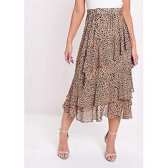 Cheetah Animal Print Frill chiffon MIDI kjol brun