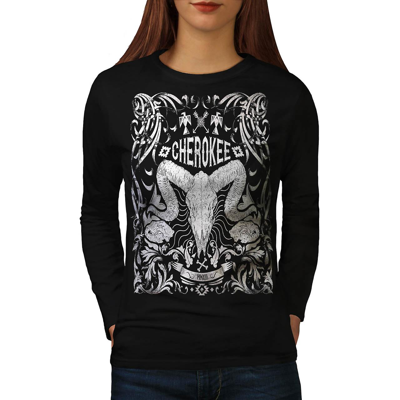Native Culture Skull Animal Head Women Black Long Sleeve T-shirt | Wellcoda