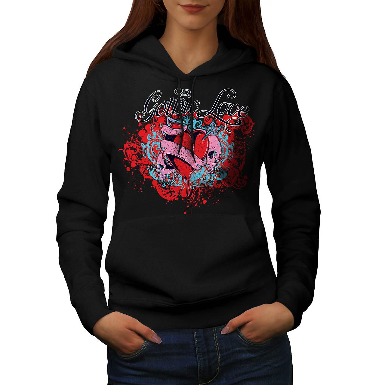 Gothic Love Heart Skull Women Black Hoodie | Wellcoda