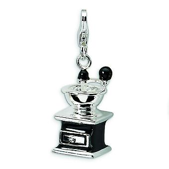 Sterling Silver Rhodium-plated Fancy Lobster Closure 3-D Enameled Black Coffee Grinder With Lobster Clasp Charm - Measur