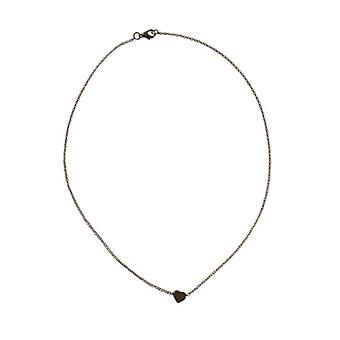 Silver-colored minimalistic chic statement necklace with heart