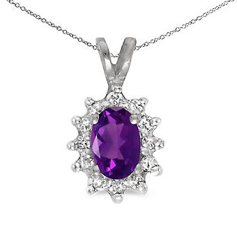 14k White Gold Oval Amethyst And Diamond Pendant with 18