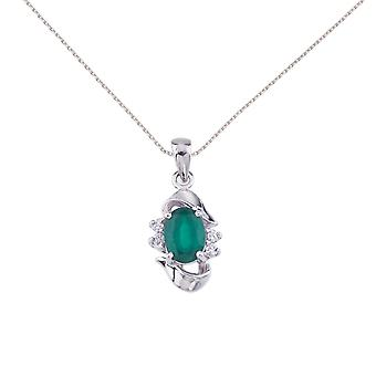 14k White Gold Emerald And Diamond Pendant with 18