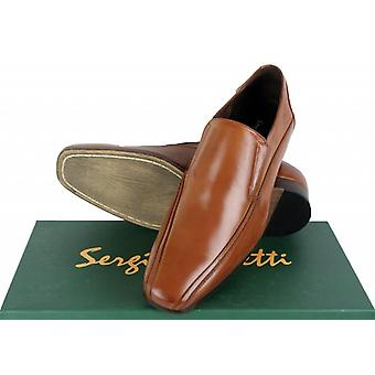Sergio Duletti Real Italian Leather Slip on Dress Shoes Pointed Toe T1338 Brown