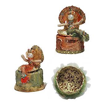 Havfrue Mint grøn Orange koral låg Box sæt af 2 Katherines samling