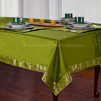 Olivgrün - handgemachte Sari Tischdecke (Indien)