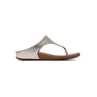 Women's Banda Metallic Leather Toe-Post Sandals - Pale Gold