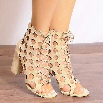 Koi Couture Nude Lace Up Heels - Ladies Db55 Nude Caged Lace Ups Peep Toes Strappy Sandals High Heels