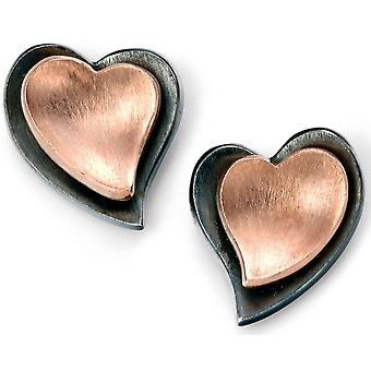 925 Silver Rose Gold Plated Heart Earring torture