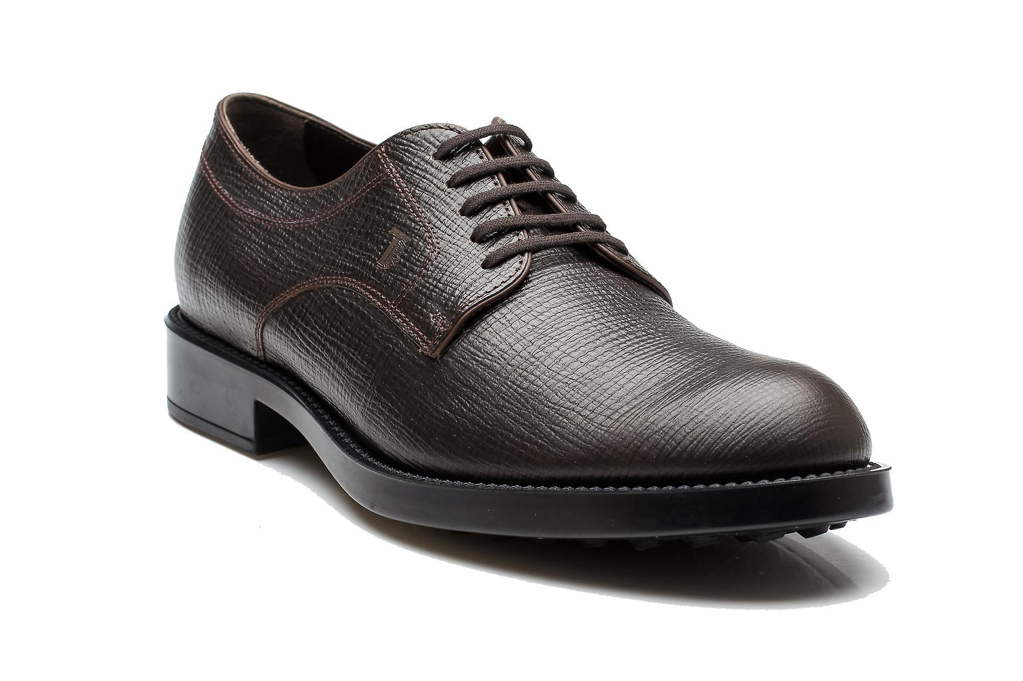 Tods Herren Saffiano-Leder Derby Liscia Esquire Giovane Oxford Kleid Schuhe Braun