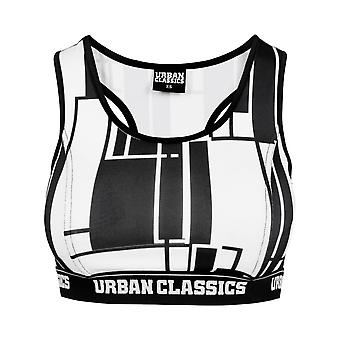 Urban Classics Ladies - Graphic SPORTS BRA schwarz / weiß