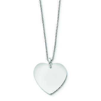 Sterling Silber Herz mit Box Kette Ring - 4,1 Gramm - 18 Zoll - Frühling