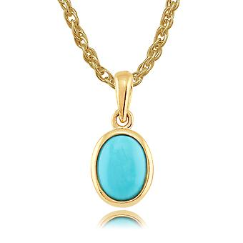 9ct Yellow Gold 0.86ct Turquoise Classic Framed Oval Pendant on 45cm Chain