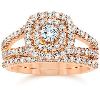 1 1/10ct Diamond Cushion Halo Engagement Wedding Ring Set 10k Rose Gold