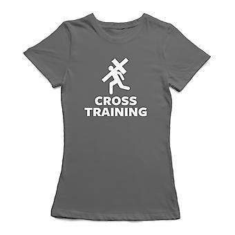 «Cross-Training» cite la forme de bande dessinée représentant une personne tenant la Croix Women'sT-shirt