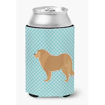 Caucasian Shepherd Dog Checkerboard Blue Can or Bottle Hugger