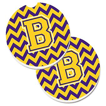 Letter B Chevron Purple and Gold Set of 2 Cup Holder Car Coasters