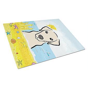 Tabla de cortar de vidrio amarillo Labrador verano playa grande