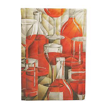 Roter Wein in Flaschen und Gläser Flagge Leinwandgröße Haus