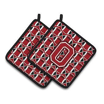 Letter O Football Red, Black and White Pair of Pot Holders
