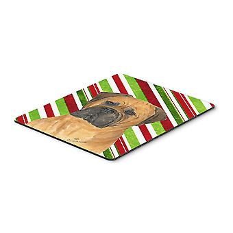 Bullmastiff Candy Cane Holiday Christmas Mouse Pad, Hot Pad or Trivet