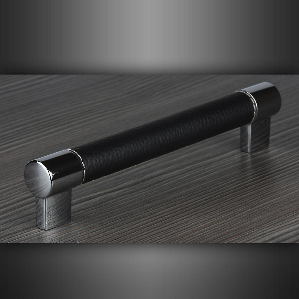 M4TEC Bar Kitchen Cabinet Door Handles Cupboards Drawers Bedroom Furniture Pull Handle Polished chrome with soft black leather stitched cover. C4 series