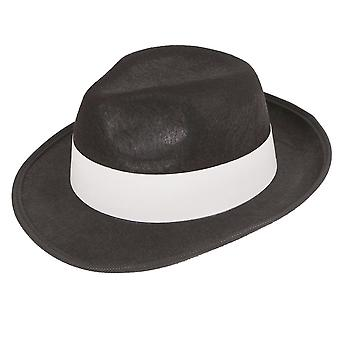 Adults Felt Gangster Black With White Band Hat Fancy Dress Accessory