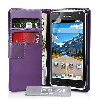 Huawei Ascend Y530 Leather-Effect Wallet Case - Purple