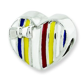 Sterling Silver Reflections Kids Enameled Heart Bead Charm