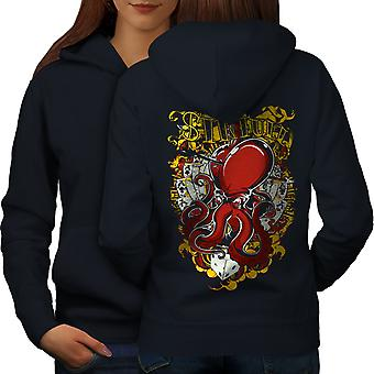 Sinful Poker Card Gamble Women NavyHoodie Back | Wellcoda
