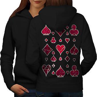 Play Card Gamble Gamble Women BlackHoodie Back | Wellcoda