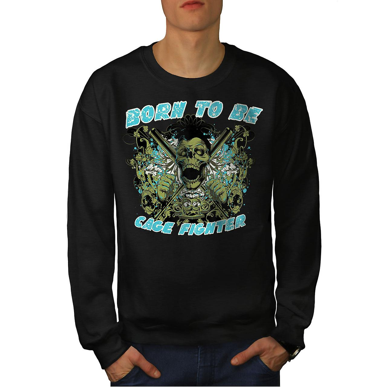 Born To Be Fighter Sport Men BlackSweatshirt | Wellcoda