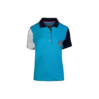 Ladies - Contrast Sleeve Polo - Electric Blue