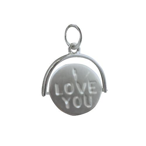 Silver 15x16mm round I Love You spinning disc Pendant or Charm