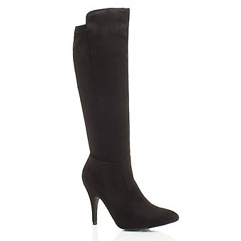 Ajvani womens stiletto high heel party pointed zip stretch riding calf knee boots