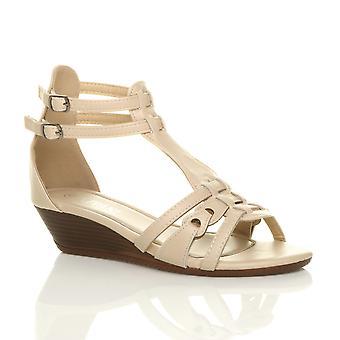 Ajvani dame lav midten af kile hæl spænde gladiator strappy t-bar sandaler