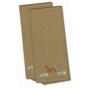 Australian Kelpie Easter Tan Embroidered Kitchen Towel Set of 2
