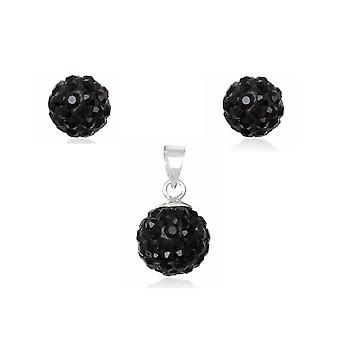 Jewelry pendant and earrings in Crystal Black and Silver 925
