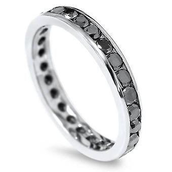 1 1/2ct Black Diamond Channel Set Eternity Ring 14K White Gold