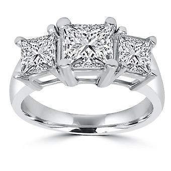 2ct-3 stenen Princess geslepen echte diamanten verlovingsring 14K witgoud