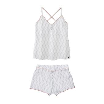 Feather Print Short Pyjama Set White