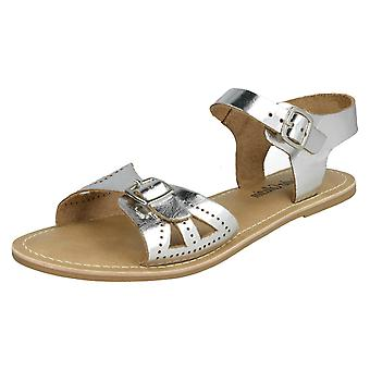 Ladies Leather Collection Flat Buckle Sandals F00148 - Silver Leather - UK Size 4 - EU Size 37 - US Size 6
