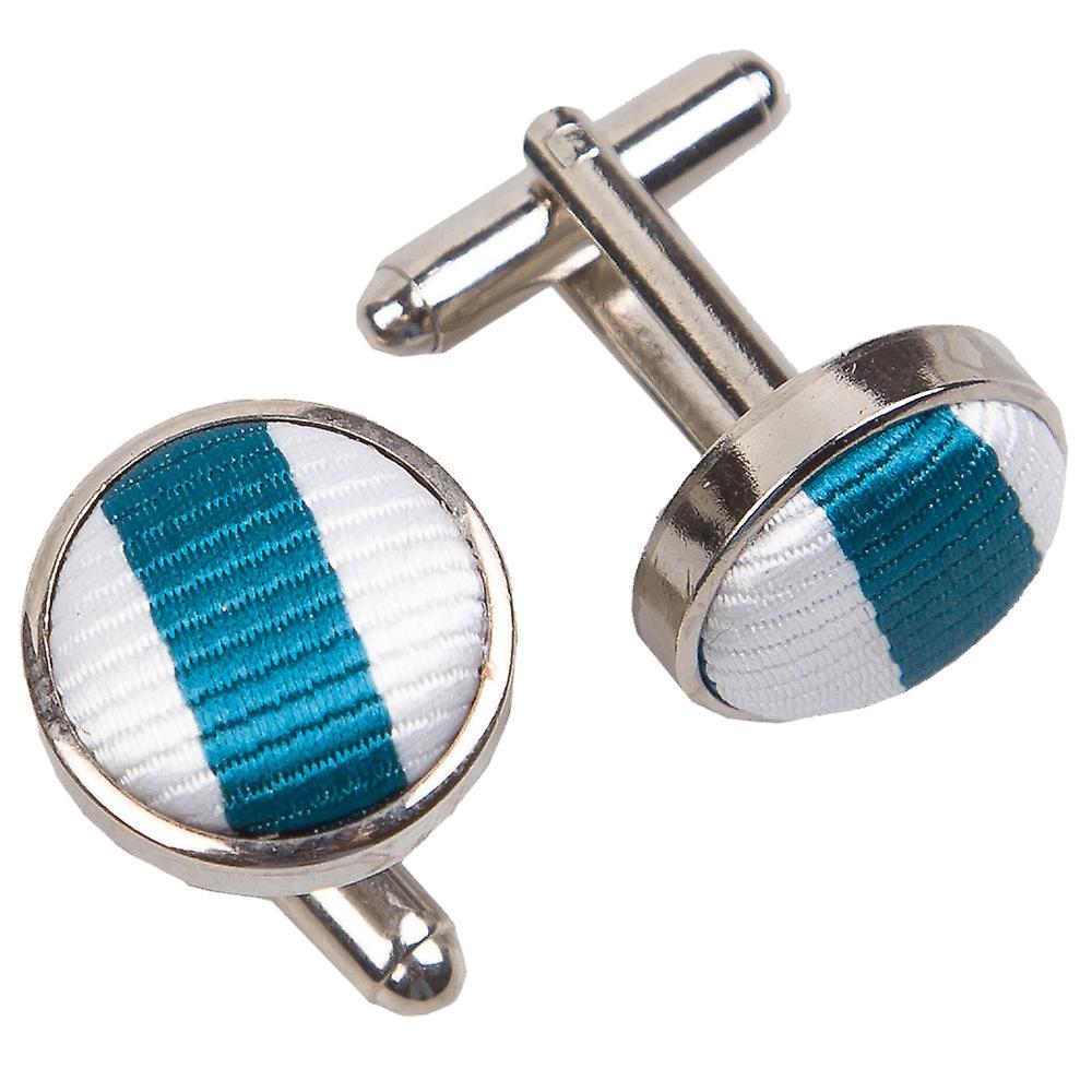 White & Teal Thin Stripe Cufflinks