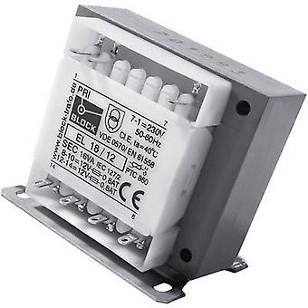 Block EL 50/9 Control transformer, Isolation transformer, Safety transformer 1 x 230 V 2 x 9 V AC 50 VA 2.78 A