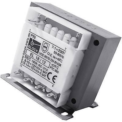 Block EL 18/9 Control transformer, Isolation transformer, Safety transformer 1 x 230 V 2 x 9 V AC 18 VA 1 A