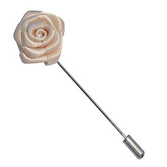 Bassin and Brown Rose Flower Lapel Pin - White